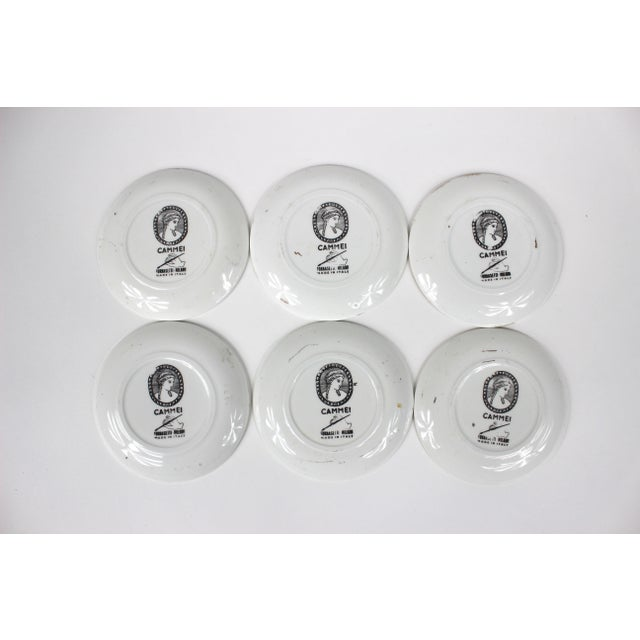 """Mid-Century Modern """"Cammei"""" Gilt Porcelain Coasters by Piero Fornasetti - Set of 6 For Sale - Image 3 of 10"""