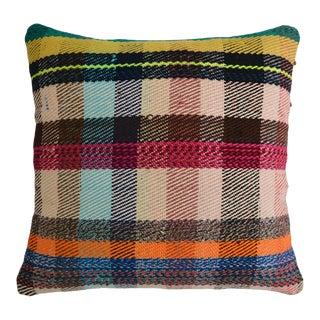 1980s Hand Woven Kilim Pillow Cover Throw Pillow Turkish Kilim Rug 16ʺ × 16ʺ For Sale