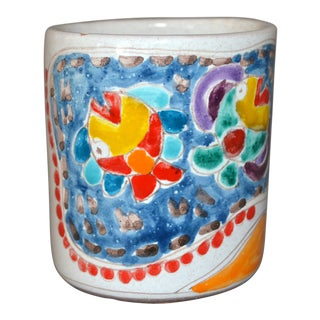 Italian Giovanni Desimone Hand Painted Art Pottery Decor Mug, Cup Fisherman Net For Sale