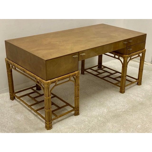 Mid 20th Century Henredon Circa East Burlwood & Bamboo Modern Desk For Sale - Image 5 of 10