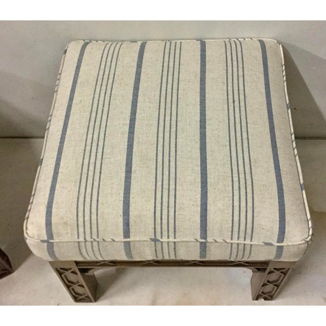Asian Pair of Chinese Chippendale Style Ottomans For Sale - Image 3 of 8