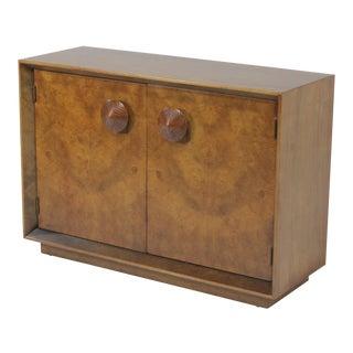 1950s Mid-Century Modern Gilbert Rohde for Herman Miller Two Door Paldao Burl Cabinet For Sale