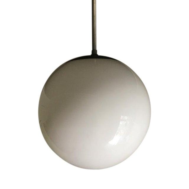 Kurt Versen Spherical Milk Glass Globe Pendant For Sale