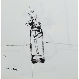 Contemporary Minimalist Floral Still Life Ink Drawing by Jose Trujillo For Sale