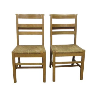 Light Natural Stain Wicker Seats School Chairs - a Pair For Sale