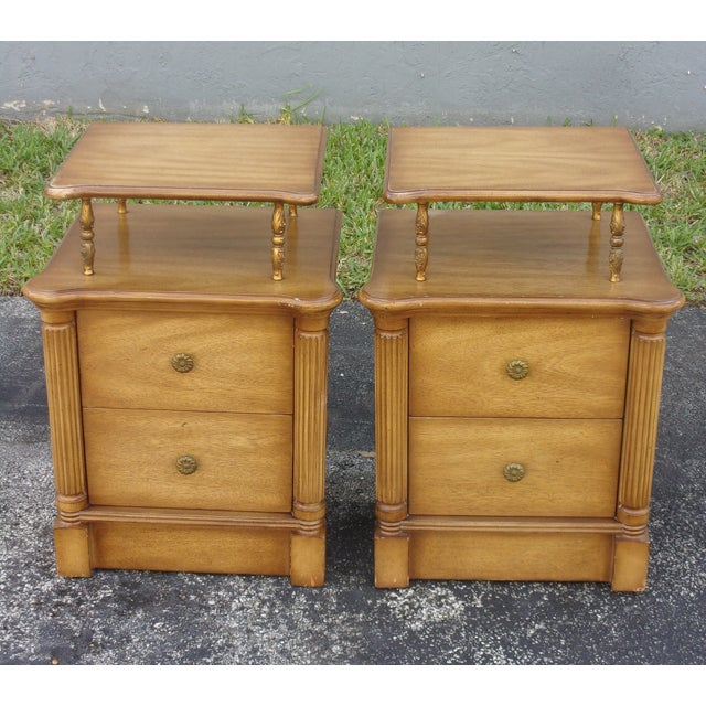 Vintage 2-Drawer Regency Style Nightstands - Pair - Image 3 of 10