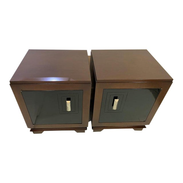 1930s French Art Deco Moderne Night Stands - a Pair For Sale