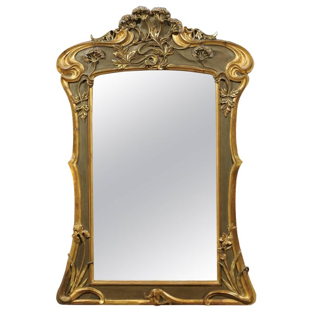Art Nouveau Style Gold & Taupe Mirror For Sale
