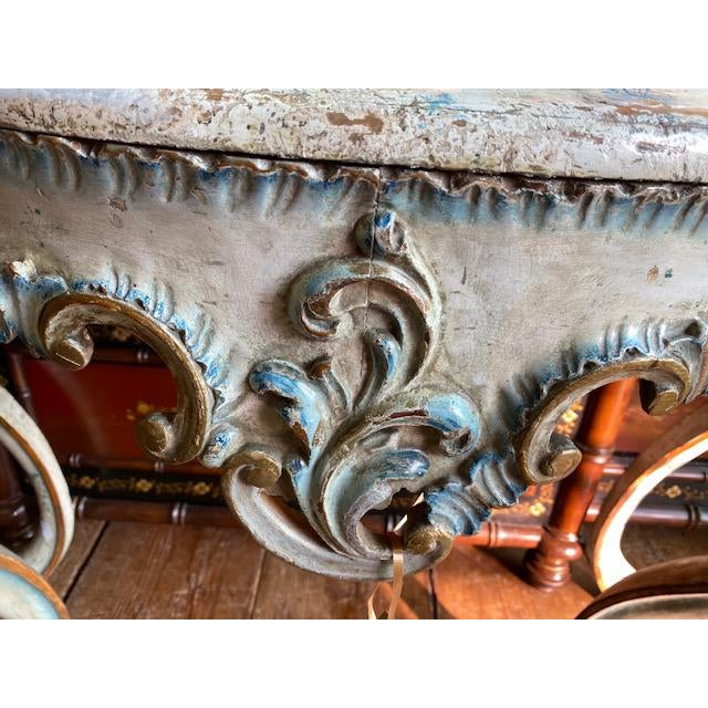 Late 19th Century 19th C. Venetian Painted White and Blue Console For Sale - Image 5 of 13