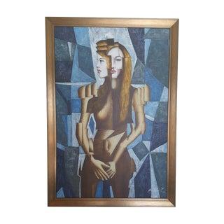 Vintage Cubist Portrait Original Oil Painting