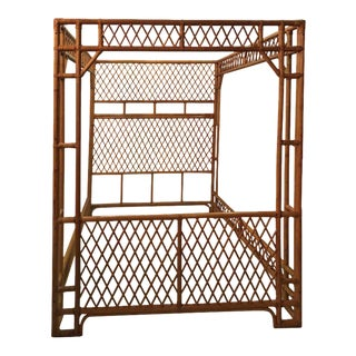 Rattan Bamboo Chinese Chippendale Queen Canopy Bed