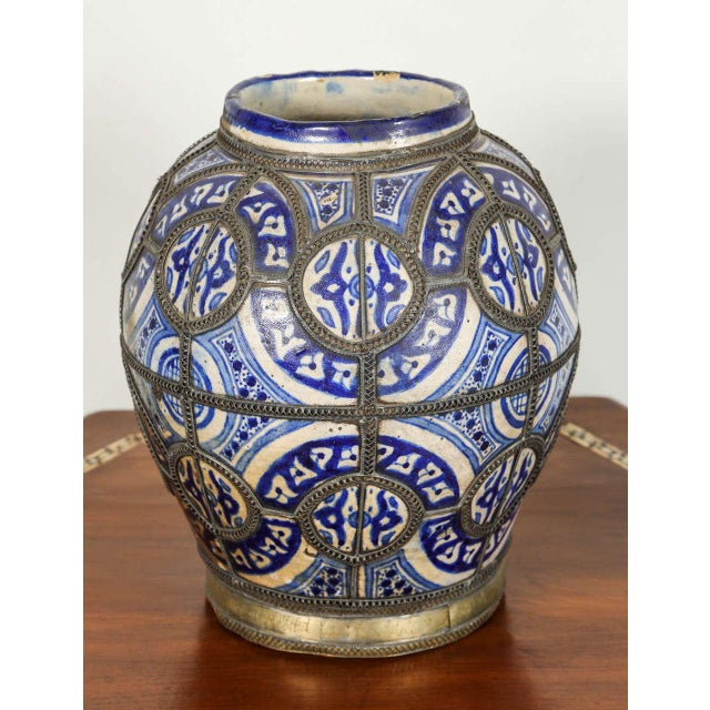 Early 20th Century Antique Moroccan Ceramic Vase From Fez For Sale - Image 5 of 8