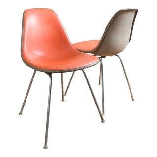 Vintage Eames Herman Miller Orange Upholstered Chairs - a Pair