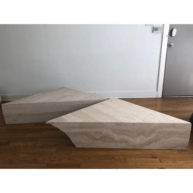 Vintage Travertine Stone Triangle Coffee Table - 2 Pieces For Sale - Image 9 of 13