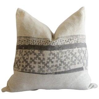 Vintage Batik and Linen Custom Made Pillow For Sale