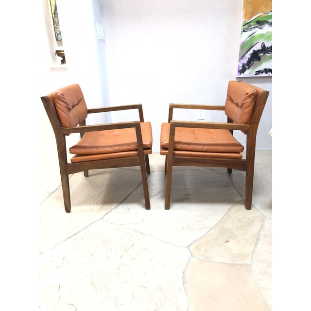 Mid Century Modern Leather Chairs- a Pair For Sale - Image 4 of 9