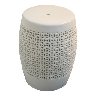 Bungalow 5 Chantilly White Garden Stool For Sale