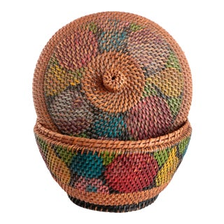 Antique Painted Basket with Lid For Sale