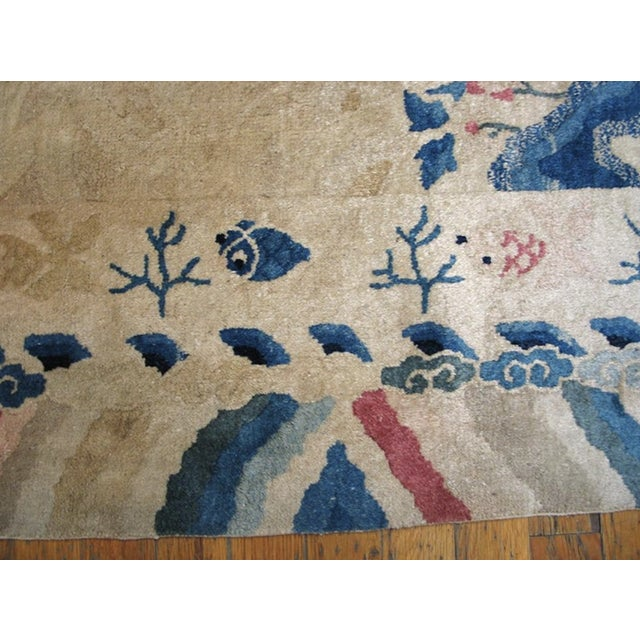 """Beige Antique Chinese Peking Rug 4'2"""" X 6'10"""" For Sale - Image 8 of 11"""