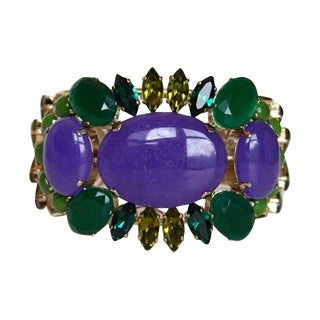 Philippe Ferrandis Purple and Green Cuff Bracelet For Sale