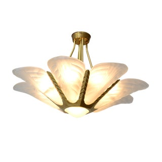 French Art Deco Slip Shade Chandelier For Sale