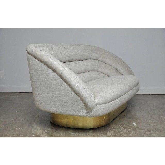 Vladimir Kagan Crescent Sofa on Brass Base For Sale - Image 4 of 8