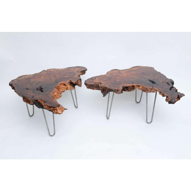 Gorgeous pair of vintage redwood tables by Tom Joule. Can be used as end table, nightstands, side tables or together as a...
