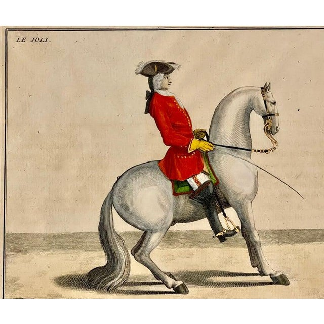 Four Engravings of Horse Riders L' Aimable, Le Joli, Le Sanspareil, Le Poupon. Each is finely matted having a gilt gold...