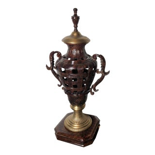 Vintage Cast Iron / Brass Statue Decorative Urn For Sale