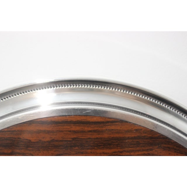 1970s Vintage Sheffield Serving Tray Silver Plate & Faux Rosewood Laminate For Sale - Image 5 of 8