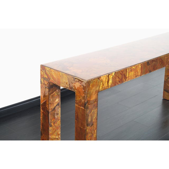 1970s Brutalist Copper Patchwork Console Table For Sale In Los Angeles - Image 6 of 11