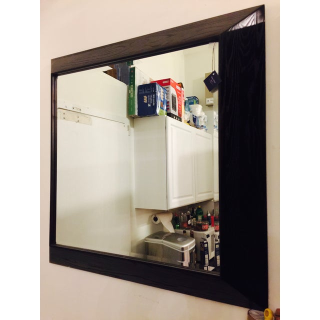 Modern Large Beveled Dark Wood Frame Mirror | Chairish
