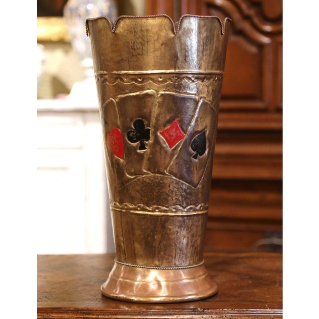Early 20th Century French Brass Umbrella Stand With Playing Card Symbols For Sale - Image 13 of 13
