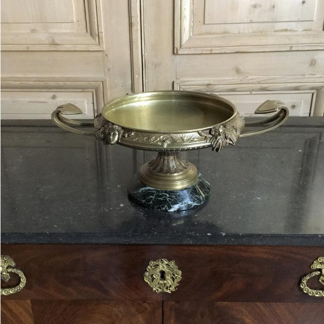 Green 19th Century French Napoleon III Period Bronze Urn Centerpiece on Marble Base For Sale - Image 8 of 10