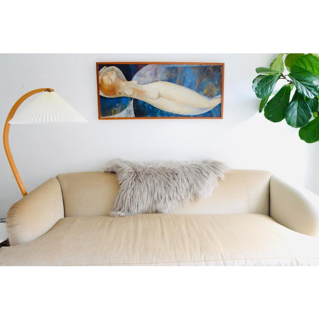 Incredible reclining nude oil painting on board with wood frame. This painting was brought to the states from Saint...