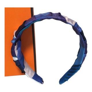 Hermes Handmade Blue Les Facèties De Pègase Silk Scarf Ruched Headband For Sale