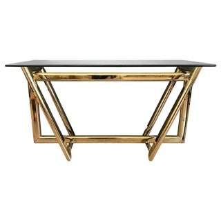 Modern Brass Glass-Topped Console Table