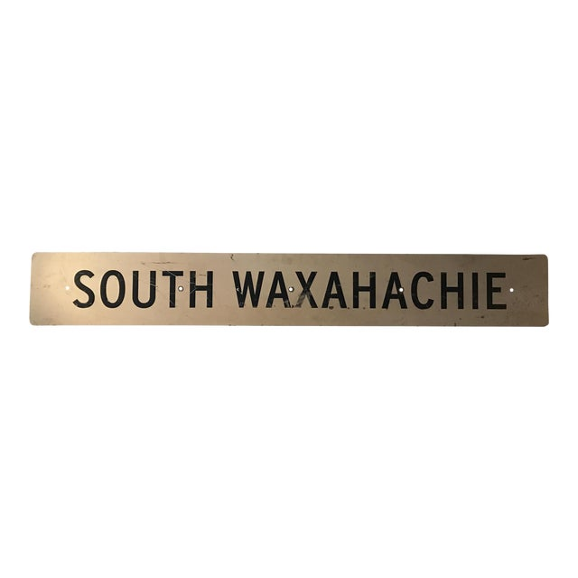 Large Vintage Industrial Metal South Waxahachie, Texas Sign - Image 1 of 8