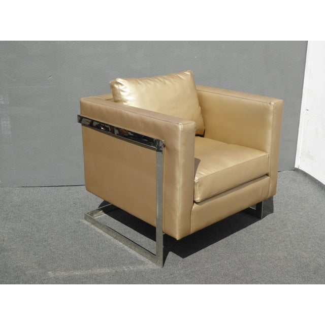 Mid Century Gold Chrome Club Chair Contemporary Modern Style For Sale - Image 5 of 11