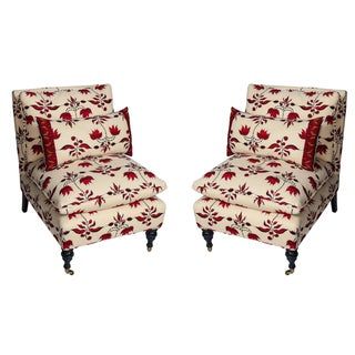 Lulu Dk Upholstered Chairs With Pillows - A Pair For Sale