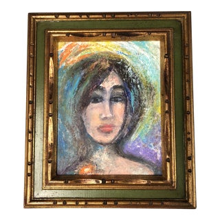 Original Vintage Female Portrait Painting 1970's For Sale