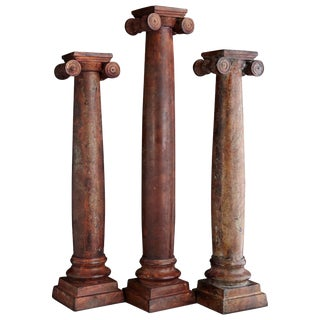 Set of 3 Metal Candleholder Greek Column Style With Chapiteau in Ionic Order For Sale