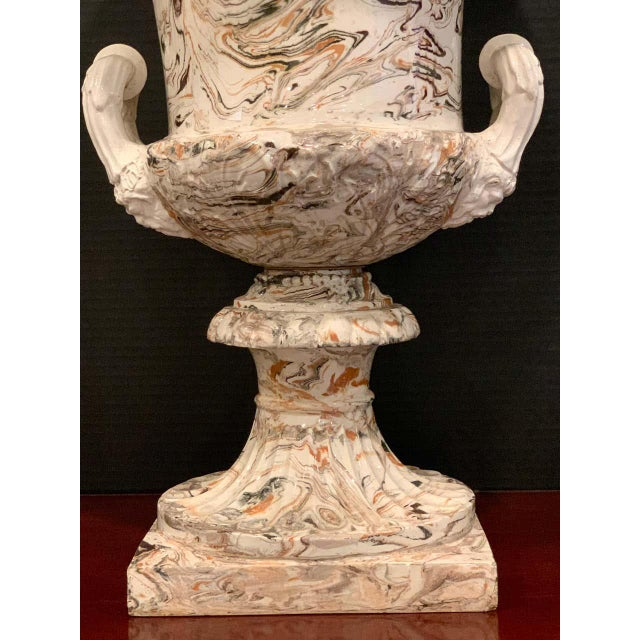 Ceramic Large French Aptware/Mixed Earth Neoclassical Campana Urn For Sale - Image 7 of 12