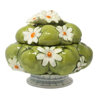 Green Apples and Daisies Lidded Dish For Sale