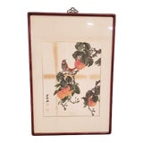 Image of Vintage Mid-Century Birds With Oranges Watercolor Framed Painting For Sale