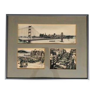 1970s Framed San Francisco Illustrated Prints by Martin Tang For Sale