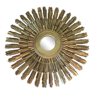 Mid-Century Sunburst Mirror by Syroco For Sale