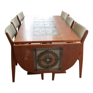 Mid-Century Modern Teak With Ceramic Tiles Dining Table & Chairs For Sale