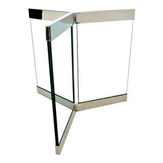 1970s Leon Rosen for Pace Pedestal Base- Mid Century Modern MCM Chrome Glass Art Deco Minimalist