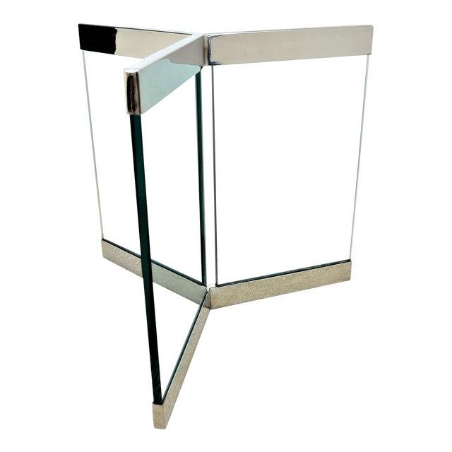 1970s Leon Rosen for Pace Pedestal Base- Mid Century Modern MCM Chrome Glass Art Deco Minimalist For Sale
